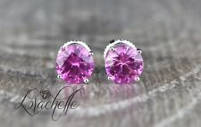 2.0 ct Round Cut Pink Sapphire Screw Back Earring Studs 14K White Gold