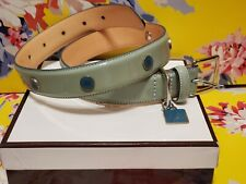 Coach Dog Collar Light Blue Leather Studded Xl