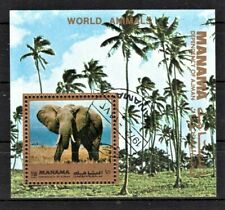 UAE AJMAN MANAMA 1972 WORLD ANIMALS WILD FAUNA AFRICA ELEPHANT STAMPS MNH CTO