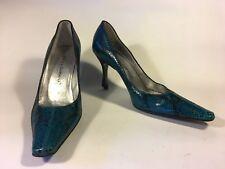 Dolce & Gabbana, Blue Python court shoe, black heel, silver leather lining 17