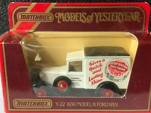 "MATCHBOX MOY Y-22 1930 FORD MODEL ""A"" VAN CHERRY BLOSSOM CHINA BASE"