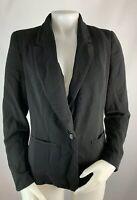 WHBM 8 Women's Blazer Suit Coat Black Career Work Wear to Work Single Button
