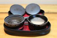 Vintage Suntar Aux. Wide Angle & Telephoto 1:4 Lenses w/ Caps & Case