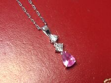 Ladies Pink Sapphire, Diamond and 14k White Gold Chain and Pendant