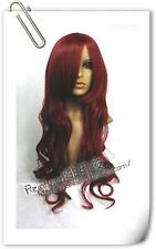 New long Dark Red cosplay Fashion Curly Wig cap H258