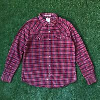 LEVIS Mens Pearl Snap Western Flannel Plaid Shirt L Red Long Sleeve