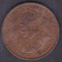 CB1392) Australia 1925 Penny, nice problem free AVF coin, 6 pearls