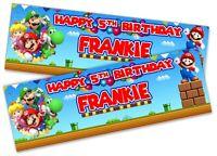 x2 Personalised Birthday Banner Super Mario Children Kids Party Decoration