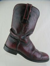 LUCCHESE Cherry Red Sz 8.5 B Men Round-Toe Cowboy Boots