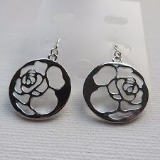 Earrings 2.5cm new in gift pouch Rose Design Drop Dangle Disc Silver Colour