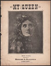 MY QUEEN VALSE antique sheet music CHARLES COOTE, JR. engraving of woman 1882