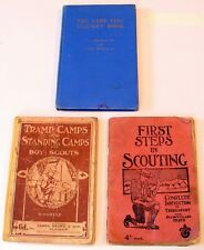 More details for vintage boy scouts books 1911, 1939 & 1949 - tramp camps, first steps, camp fire