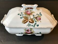 Antique Ironstone~SMALL TUREEN W/Lid~Moss Rose~England ~EXCELLENT CONDITION