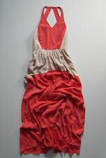 NWT tibi Matte Silk Contrast Colorblock in Grenadine Open Back Maxi Dress 8  $675