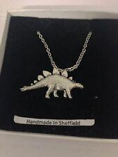 "Stegosaurus Dinosaur PP-G17 Emblem Silver Platinum Plated Necklace 18"""