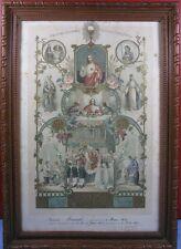 ANCIEN CADRE RELIGIEUX CHROMO LITHO XXe SOUVENIR DE PREMIERE COMMUNION 1935