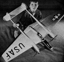 """Model Airplane Plans (Uc): P-38 Semi-Scale 56"""" Stunter for .19s by Lew McFarland"""