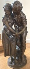 AN IMPORTANT 19TH CENTURY FRENCH BRONZE 31'' HIGH LOVERS STATUE BY MATH MOREAU