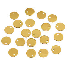 20x Copper Blank Stamping Tags Pendant Charms for Jewelry Making 8mm Gold