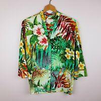 Jams World Shirt Size S Floral Tropical Print 3/4 Sleeve