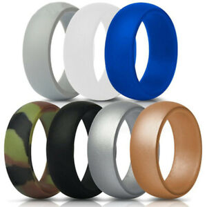 7x Lot Mens Rubber Silicone Safety Wedding Ring Band Sports Gym Hypoallergenic