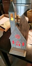 Vintage 1970's Lighted Ceramic Christmas Church W/ Stained Glass & Trees