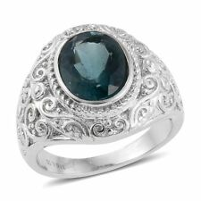 OVAL TEAL FLUORITE GENUINE GEMSTONE STAINLESS STEEL RING SIZE 7 4.20 TCW HUGE