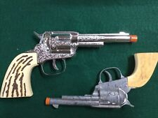Vintage Pair of Cowboy Cap Pistol With Leather Holsters Two Leather Holsters
