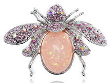 Pink Crystal Rhinestone Large Bead Gem Abdomen Fly Bee Bug Fashion Pin Brooch