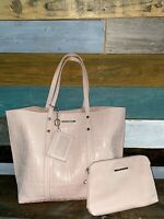 STEVE MADDEN LOGO TOTE SHOPPER BAG BLUSH PINK FAUX LEATHER PURSE W/Accessories