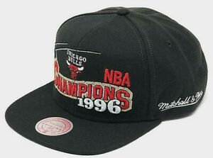 Chicago Bulls Mitchell & Ness Snapback Hat 1996 NBA Finals Champions Cap Black