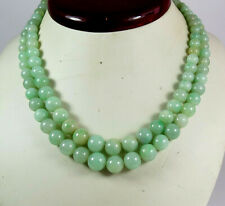 ANTIQUE, CHINESE 2 STRAND NATURAL JADE BEAD NECKLACE STERLING CLASP