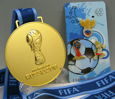 2018 Russia FIFA World cup Gold Medal with Mascot Zabivaka Pin Collection Gift