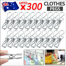 300PCS Stainless Steel Clothes Pegs Hanging Clips Pins Laundry Windproof Clamp