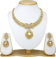 Indian Bollywood Fashion Gold plated Diamond Necklace Earring Jewelry set