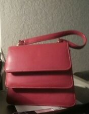 VintageHot Pink Leather Double Flap w/short strap gold accents evening purse $21