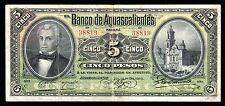 El Banco de Aguascalientes 5 Pesos 7.01.1910, M51c / BK-AGU-3. VF+