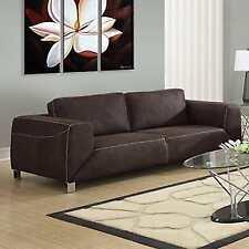Monarch Specialties Chocolate Brown Tan Contrast Micro Suede Sofa I 8513br