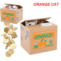 3 Models Orange Cat Automated Stealing Coin Money Animal Bank Storage Saving Box