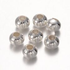 LOT de 50 PERLES RONDES LISSES 8mm ARGENTEES trou env. 3,2mm création bijoux