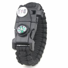 Outdoor Paracord Bracelet with LED Light Compass Whistle Flint Survival Gear Kit