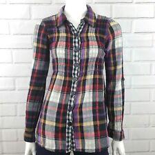 Daytrip Size Medium Long Sleeve  Button Front Plaid Blouse Top Multi Color