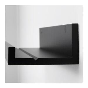 IKEA Picture Ledge Floating Shelf  55cm Wall Photo Frame Book Black Rail Display