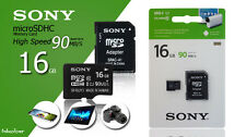 16GB Genuine Sony Micro SDHC Memory Card Class 10 With SD Adapter 90mb