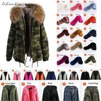 100% Real Raccoon Fur Collar Parka Winter Jacket Hooded Military Women Coat Warm