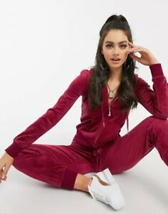 Juicy Couture Velour Tracksuit Set Hoodie & Jogger Pants Pomegranate Logo L