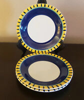 Pier1 Handpainted In Italy Per50 Salad Plates x3 Blue,Yellow Green Band