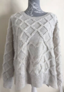 Ladies Cream Chunky Knit Heart Jumper Size 22 By Tu