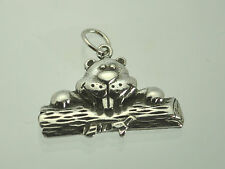 North American Canada beaver no place like home Log 925 Sterling Silver charm