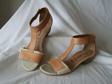 Womens/ladies Tamaris size 4 (37) tan/cream leather heeled sandals GC!